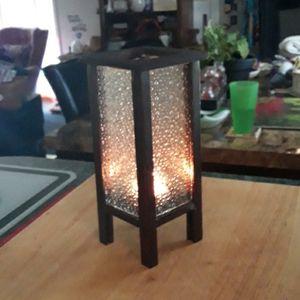 Bubble glass & wood tealight accent light